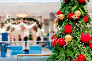 commercial christmas and holidy lights installation in a shopping mall